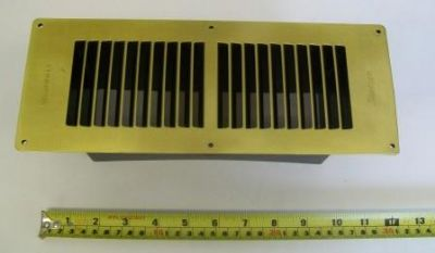 Large Brass Fuel Effect Gas Fire Floor Vent